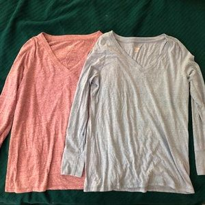 Pair of Mossimo Supply Long Sleeve Heathers Tees